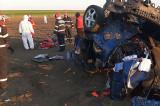 Un Mercedes implicat într-un grav accident rutier s-a transformat într- un morman de fiare contorsionate