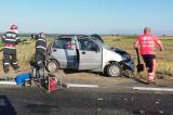 Opt persoane rănite, dintre care patru în stare gravă într-un accident rutier pe DN22-E87(Garvan-Jijila)