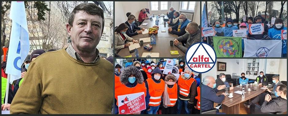 """Proteste sociale în toată țara: """"Toți avem aceleași drepturi! Muncă decentă, Dialog social, Justiție socială!"""" (Cartel ALFA)"""