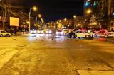 Mașină a poliției implicată într-un accident cu două persoane rănite