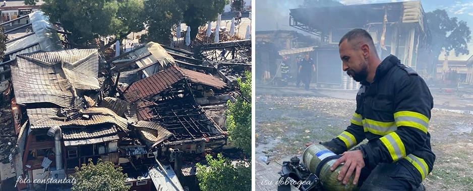 De ce au ars cele trei terase din Mamaia. Pompierii au acționat peste 4 ore pentru stingerea incendiului violent. O persoană a avut nevoie de îngrijiri medicale.