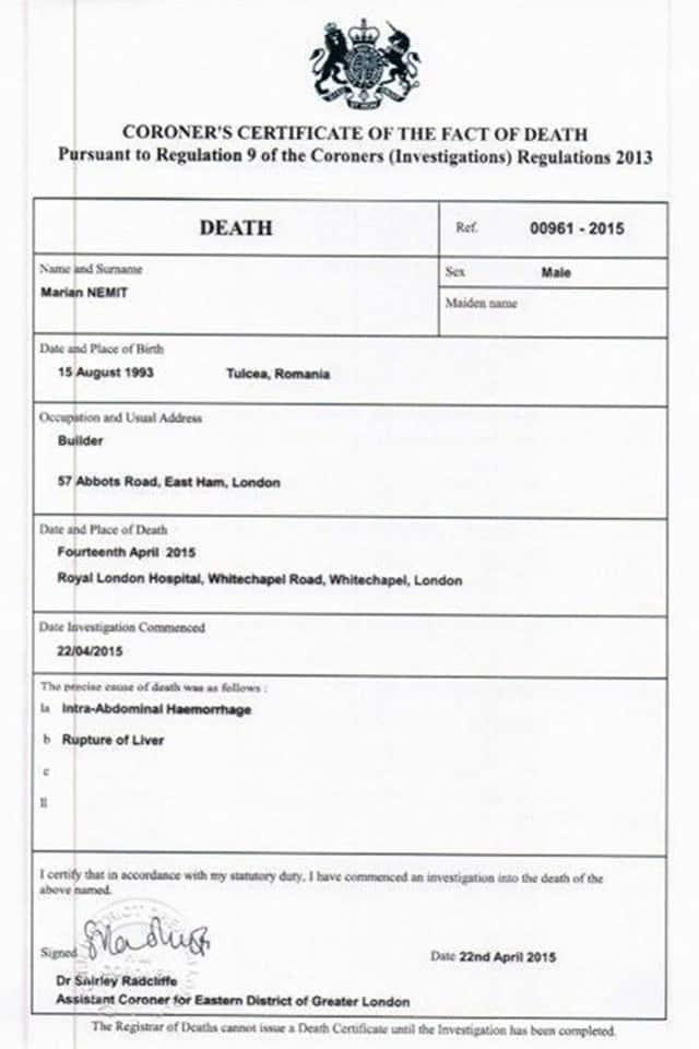 Marian-death-certificate