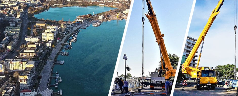 """A început """"marea debarasare"""" de pontoane și pasarele pentru a începe lucrările de consolidare, reconstrucție și modernizare ale falezei și a portului Tulcea."""